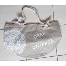 Dulcinea Heredia Strandtasche Gran Canaria beige mit weißem Aufdruck Ornament 50x35cm HX22004-60 runder Boden - LAGERWARE