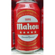 Mahou - Cinco Estrellas Cerveza Bier 5,5% Vol. 330ml Dose hergestellt auf Teneriffa - LAGERWARE